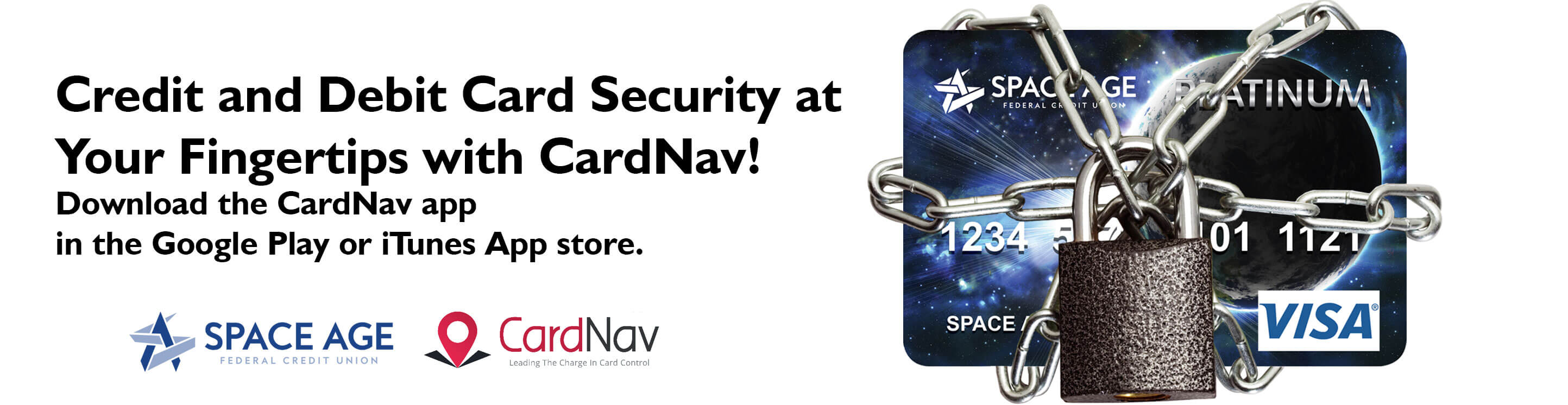 Credit and Debit Card Security at Your Fingertips with CardNav! Download the CardNav app in the Google Play or iTunes store.