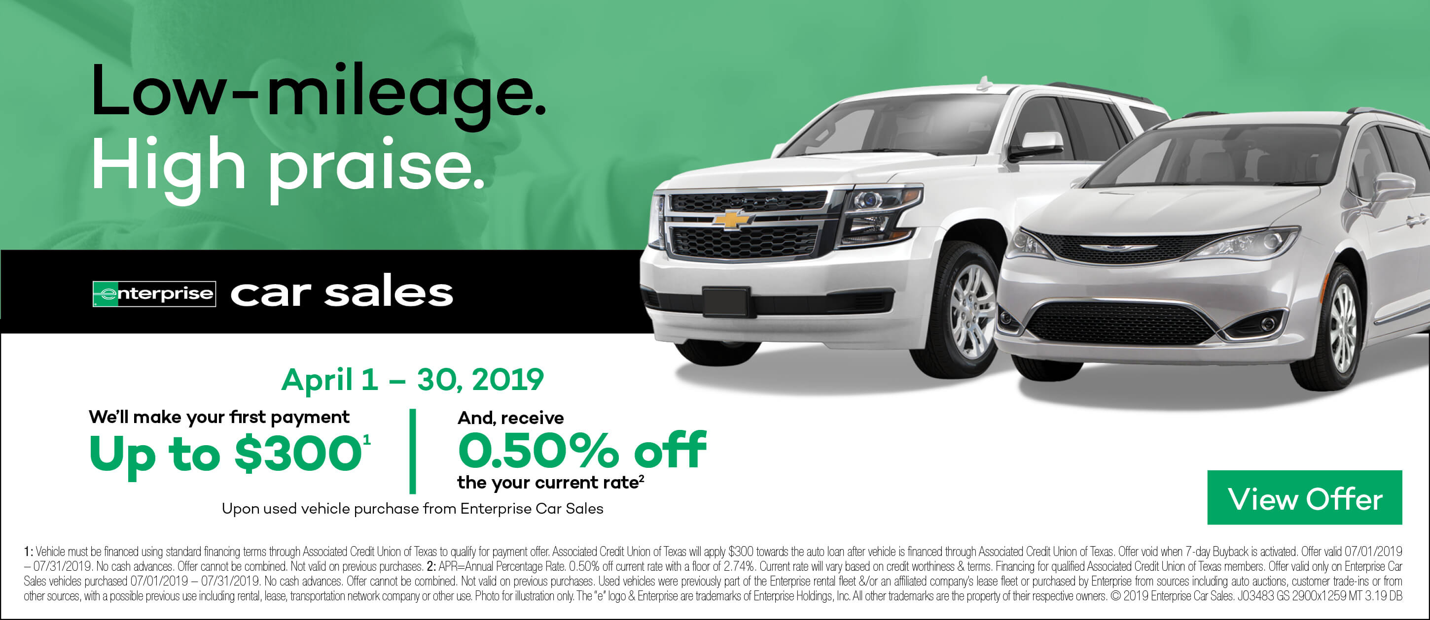 Low-mileage. High praise. We'll make your first payment up to $300. Enterprise Car Sales View offer.