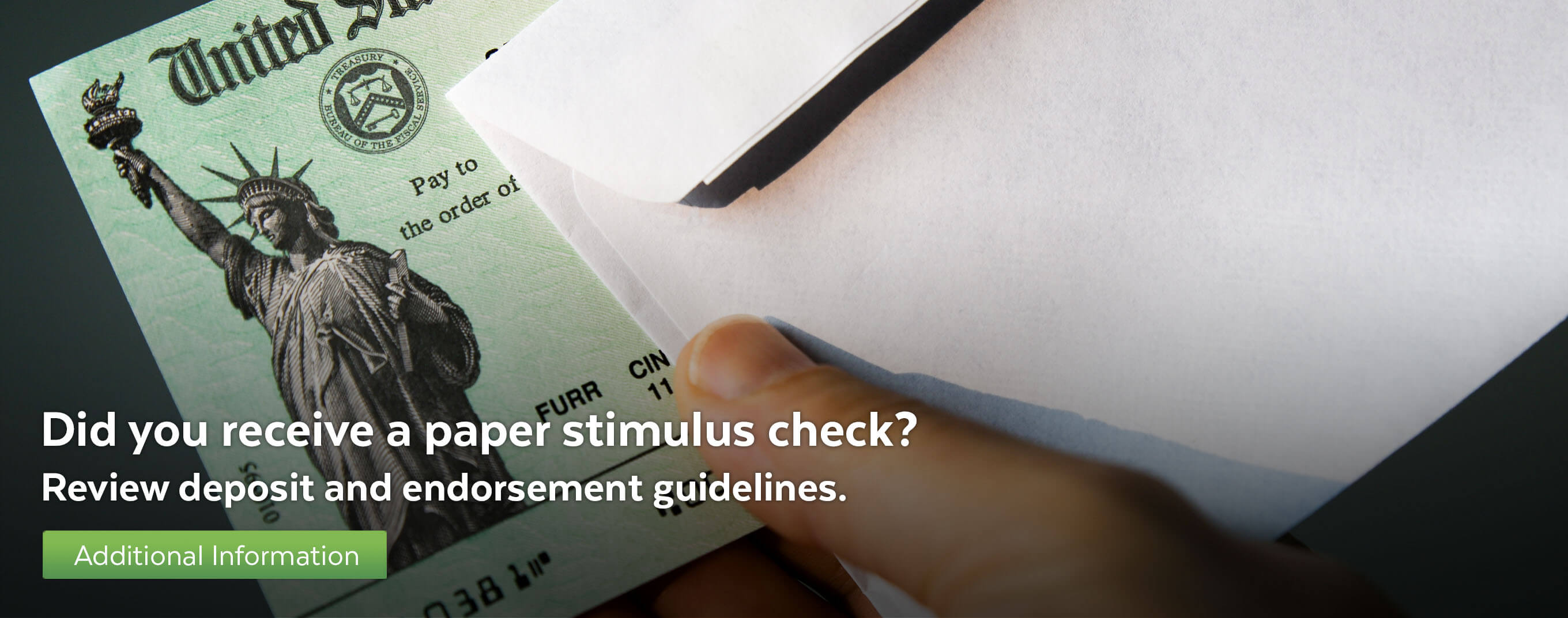 Did you receive a paper stimulus check? Review deposit and endorsement guidelines.