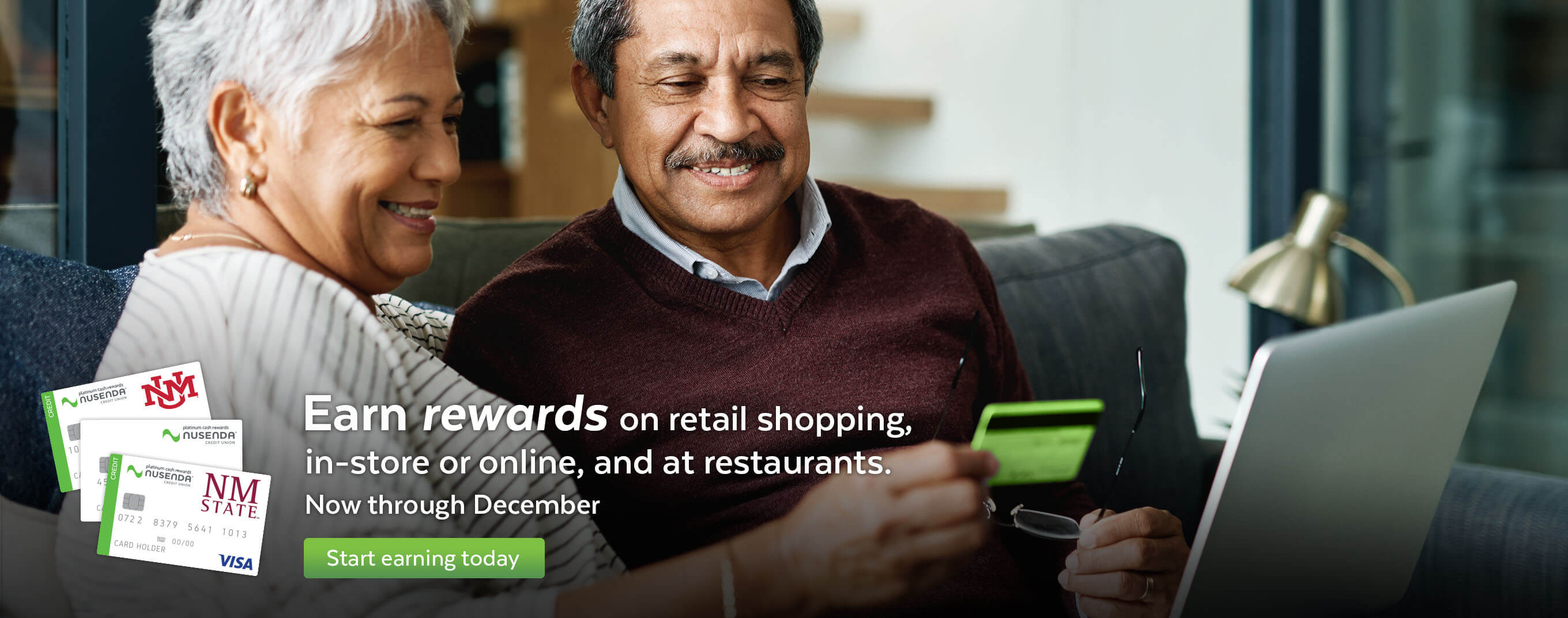 Earn rewards on retail shopping, in-store or online, and at restaurants now through December.