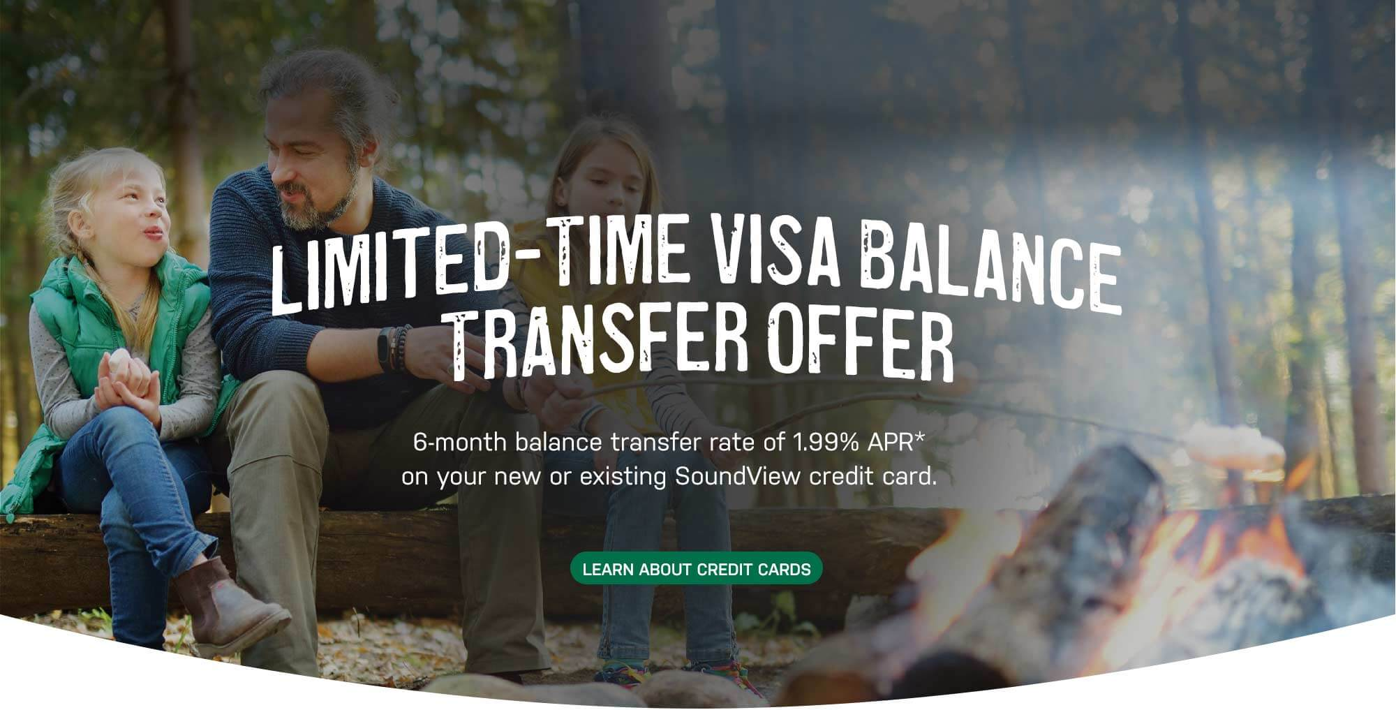 Limited-Time Visa Balance Transfer Offer. 6-month balance transfer rate of 1.99% APR* on your new or existing SoundView credit card. Learn About Credit Cards