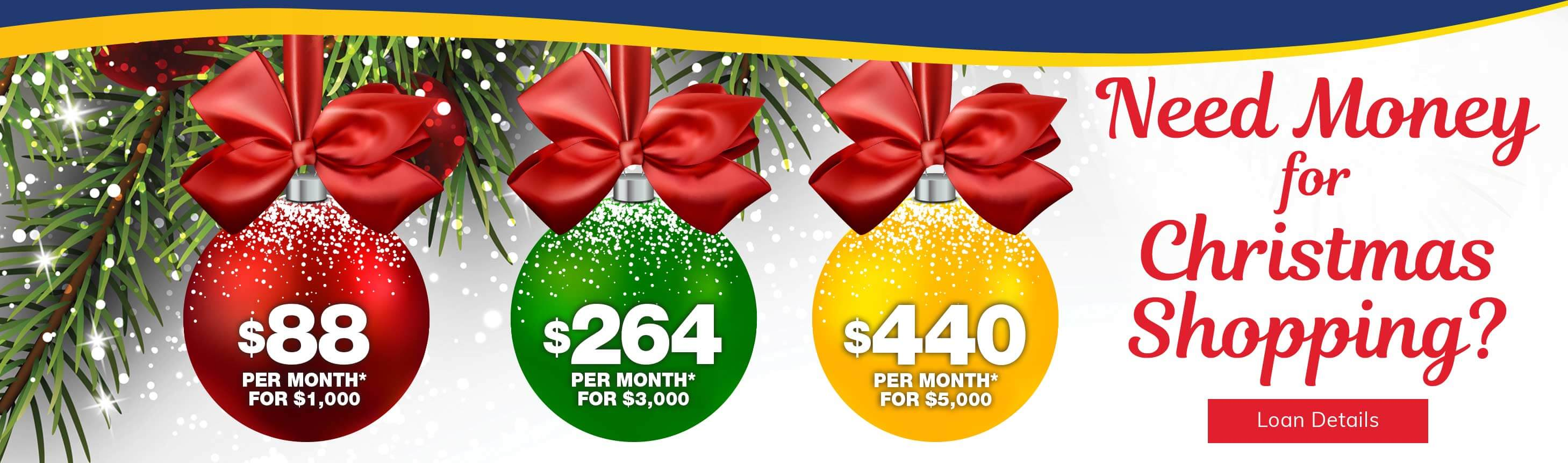 Need Money for Christmas Shopping? $88 per month for $1,000. $264 per month for $3,000. $440 per month for $5,000. Loan Details