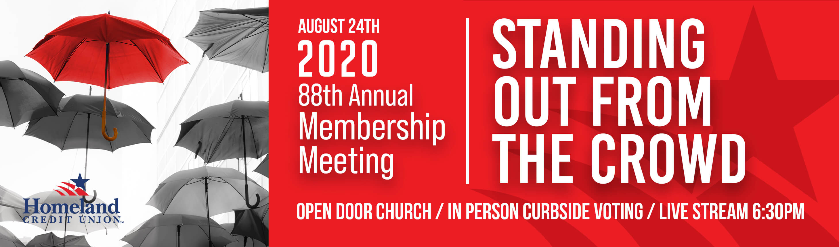 August 24, 2020. 88th Annual Membership Meeting. Standing Out From The Crowd. Open Door Church. In Person curbside voting. Live Stream 6:30pm.
