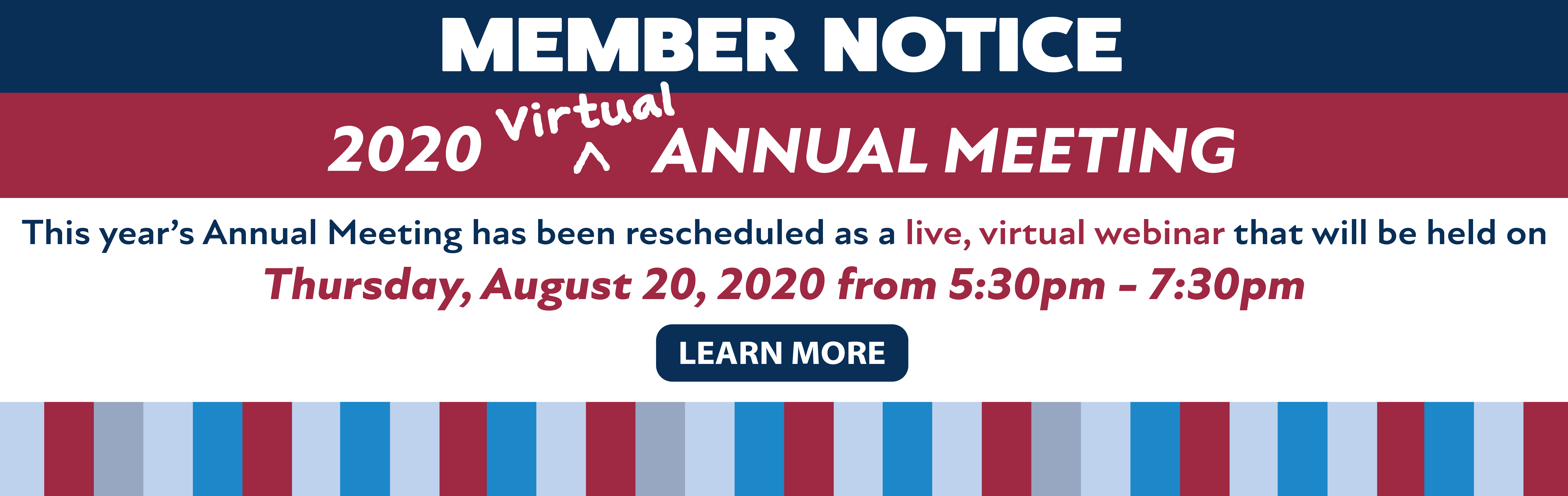 2020 Annual Meeting Rescheduled