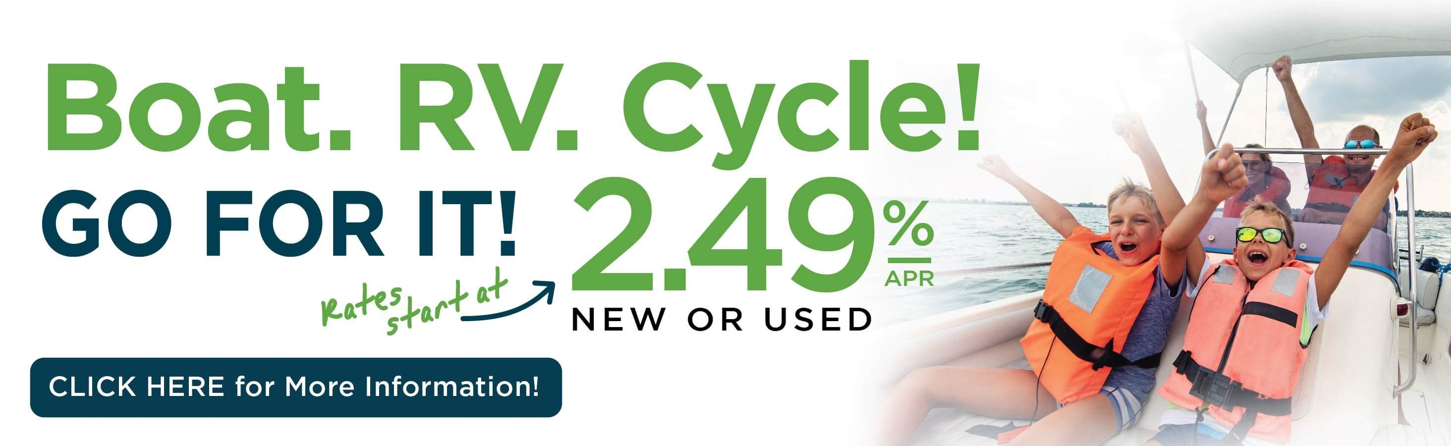 Low Rate on Boats, RVs, Cycles and More!