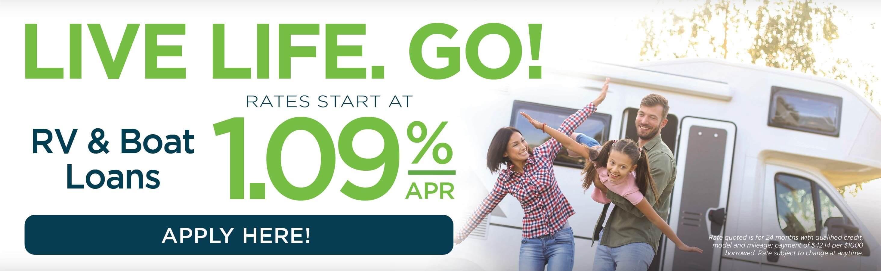 Live Life. Go! RV & Boat Loan Promotion