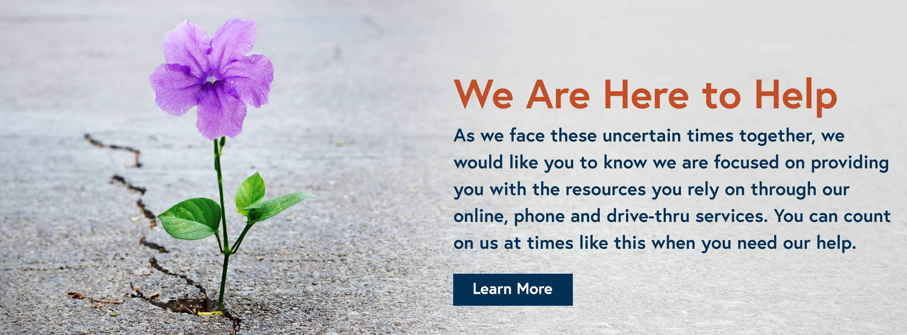 You can count on us at times like this when you need our help. Learn More