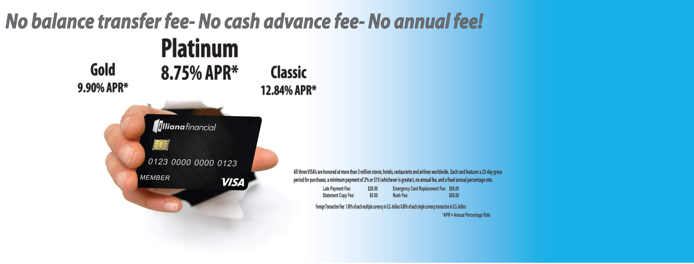 Visa Credit Cards-No balance transfer fee, cash advance or annual fee