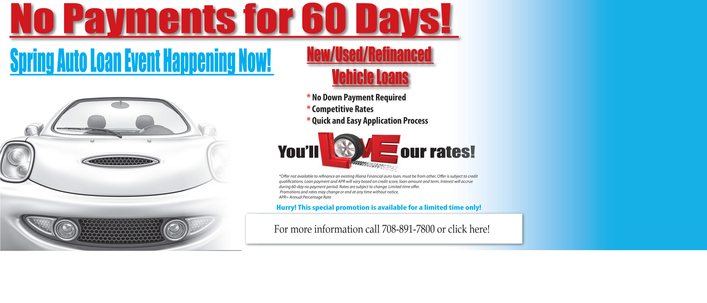 Auto Loan Promotion no payments for 60 days