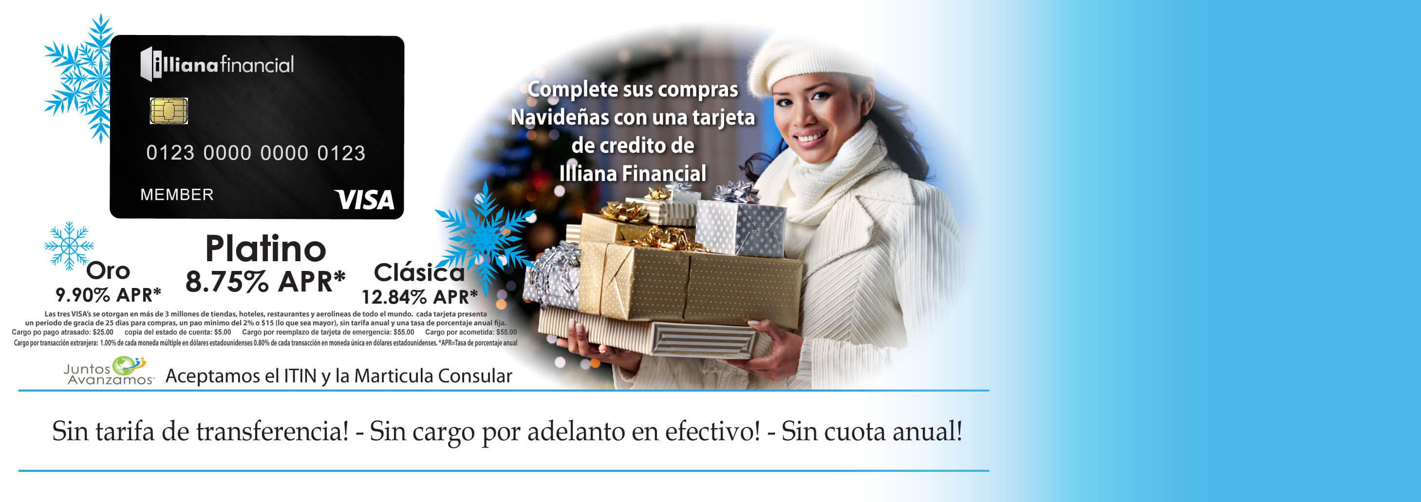 Complete sus compras Navidenas con una tarjeta de credito de Illiana Financail