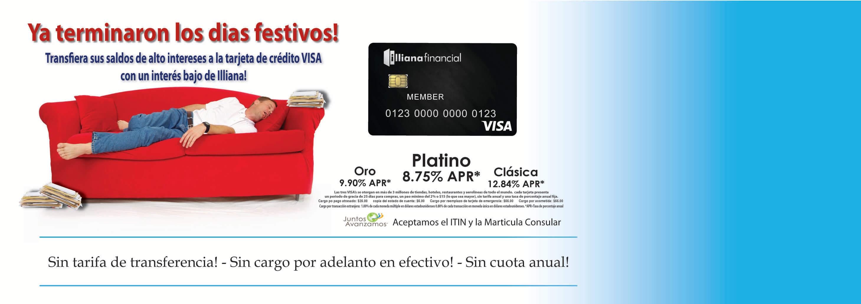Ya terminaron los dias festivos! Tarjeta de Visa