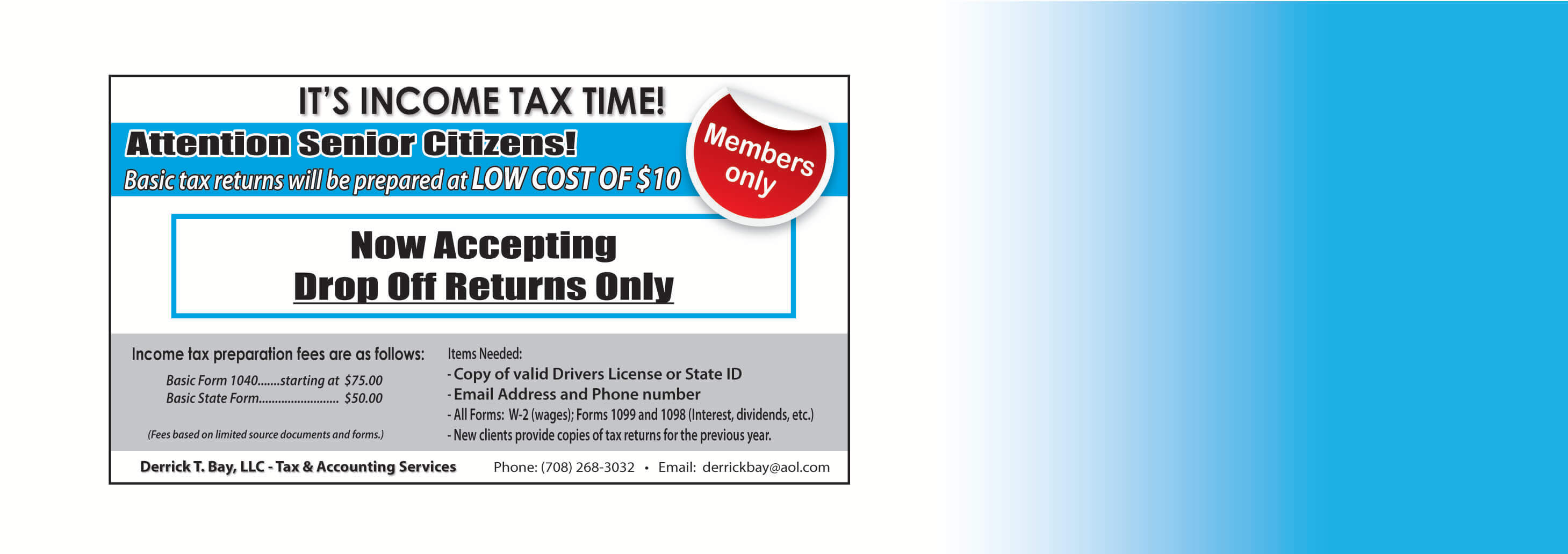 Income Tax Drop-off Returns Only