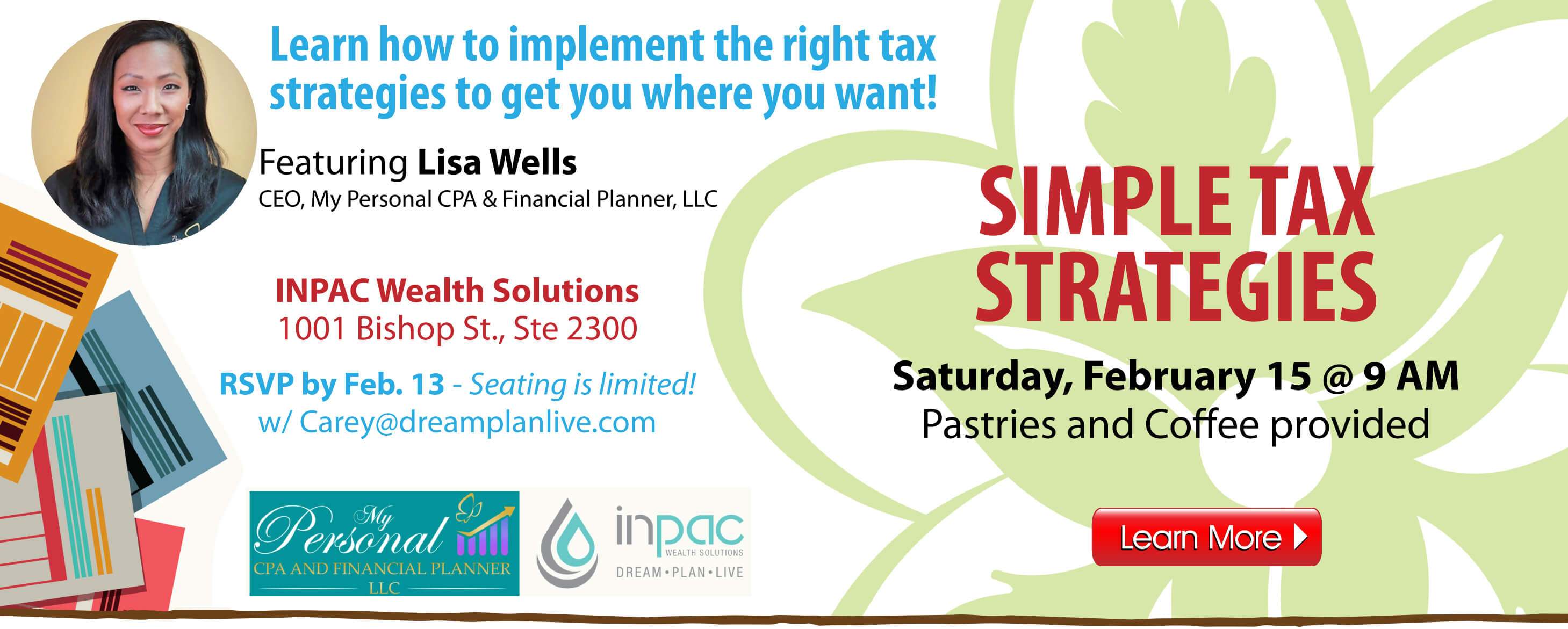 Simple Tax Strategies Seminar on Saturday, February 15.  RSVP today!
