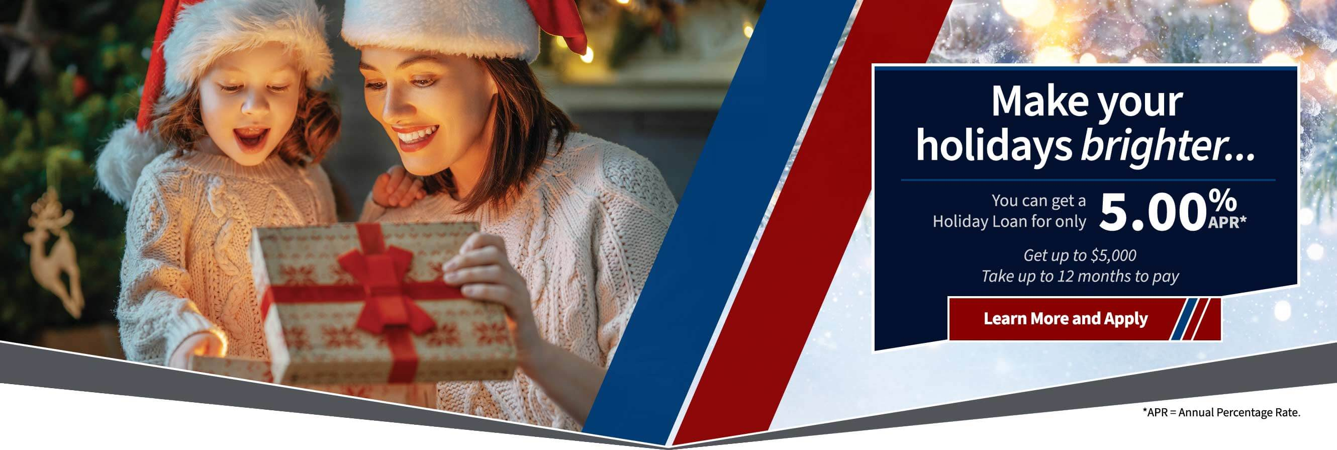 Make your holidays brighter with a 5.00% apr holiday loan